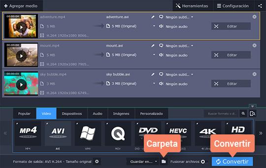 Pase de MP4 a AVI rápidamente con Movavi Video Converter