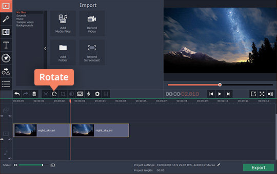 Video rotation how to rotate a video with movavi there are two ways you can rotate your video to rotate a clip by 90 degrees clockwise select it on the timeline and press the rotate button as many times ccuart Images