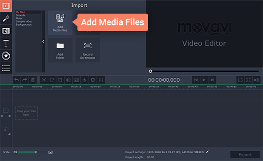 Add your video file to the program to use video filters