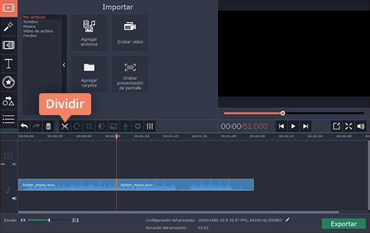 Una las canciones fácilmente con Movavi Video Editor
