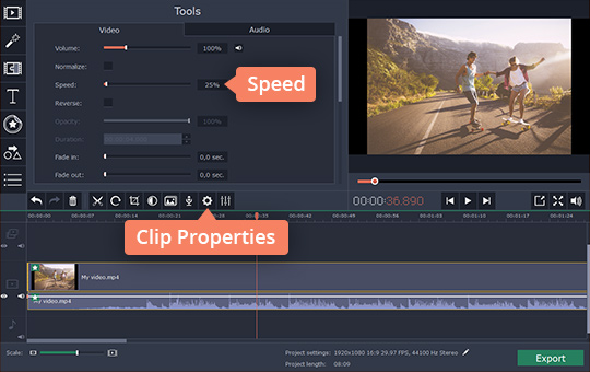 ... Clip Properties Button And Move The Speed Slider To The Left To Reduce  The Speed Of Your Clip. Experiment With The Slider To Create Super Slow  Videos.