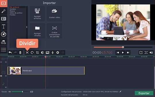 Use el poderoso cortador de vídeos de Movavi