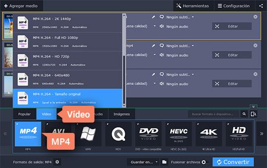 Use el programa para cambiar el formato de vídeo rápidamente de Movavi