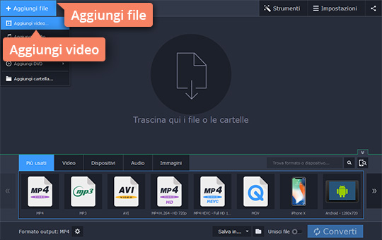 Cambiate il formato del video con due click