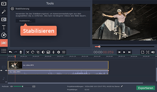 Machen Sie die Videostabilisierung in Movavi Video Editor