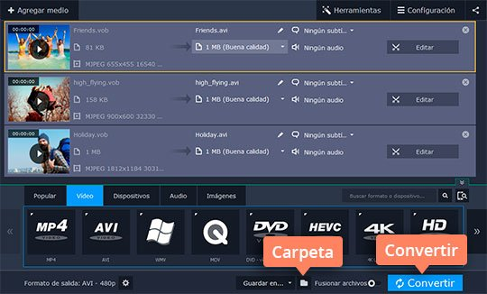 Use el sencillo convertidor de DVD a AVI Movavi Video Converter