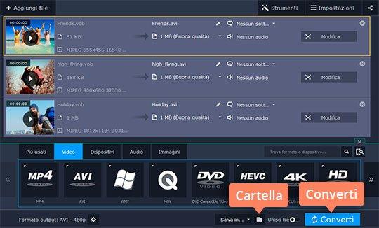 Provate il convertitore da DVD a AVI di Movavi