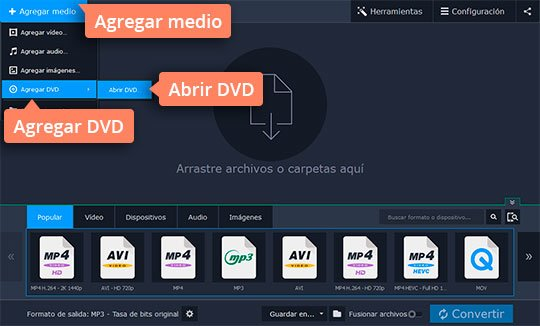 Convierta sus vídeos DVD a AVI rápidamente con el software de Movavi