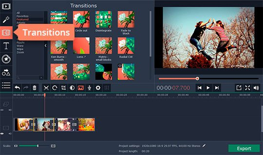 Add transitions to your video in GoPro editing software