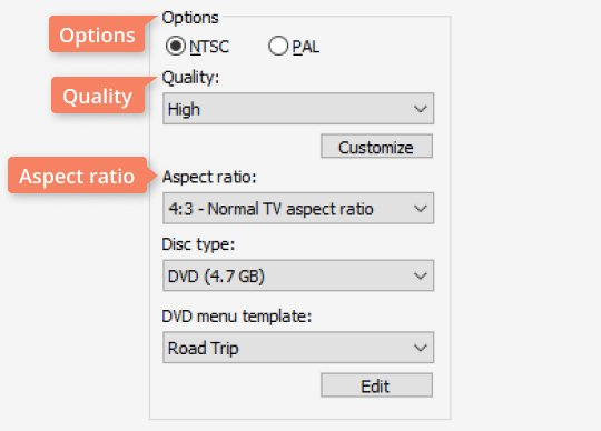 Move to the Options section to select the video standard and set other options