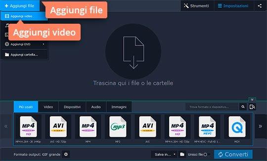 Convertire video in GIF con due clic