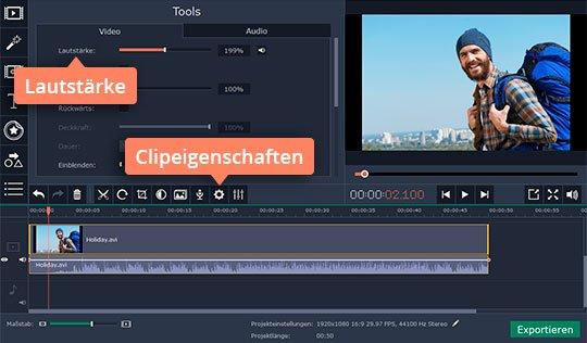 Versuchen Sie, mit Movavis Programm Videos lauter machen