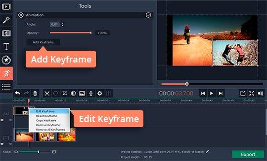 Edit keyframes in the overlay program