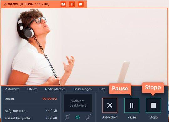 Fangen Sie an, mit Movavi Audio Streams aufnehmen