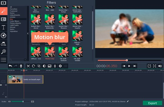 Add the Motion blur filter to make the video more dynamic