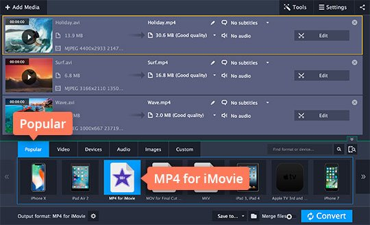 how to add mp4 file to imovie