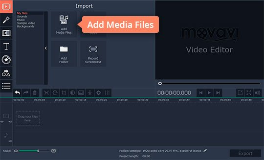 Upload media files to the overlay video editor
