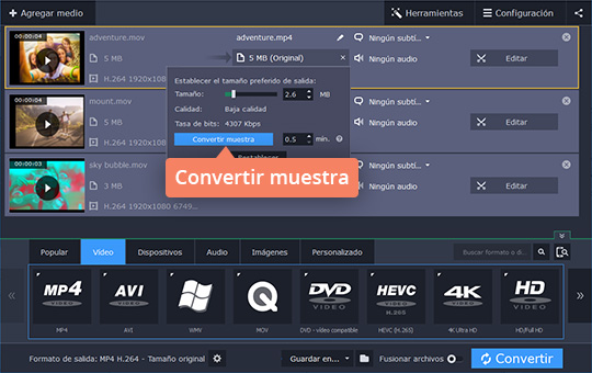 Reduzca el tamaño de un vídeo en MP4 u otro formato con Movavi Video Converter