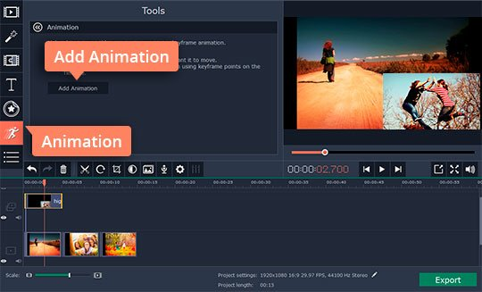 If you have Movavi Video Editor Plus, add animation (Optional)