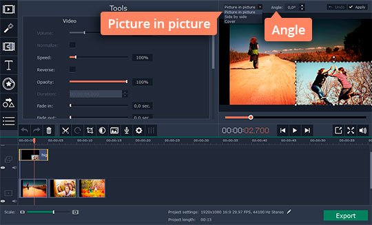 Edit the video overlay changing the size or orientation of the clip