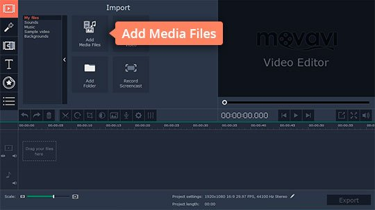 Add files to the 4K video editor