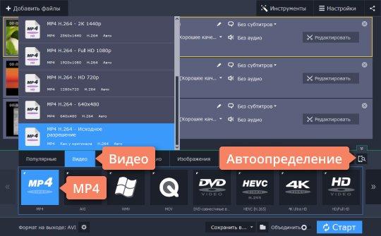Выберите нужный профиль, чтобы конвертировать в MP4 или другой формат добавленное видео