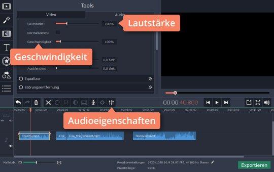 Ändern Sie Einstellungen in Movavis App, um Lieder zu bearbeiten