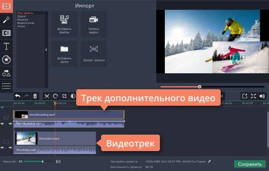 Создайте дополнительный видеотрек, перед тем как наложить картинку на видео
