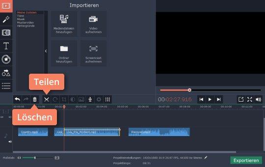 Verwenden Sie Movavi für die Audiobearbeitung