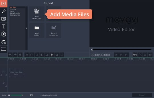 Add files to the reverse video editor