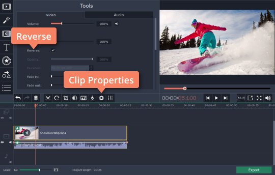 Reverse a video using the tools