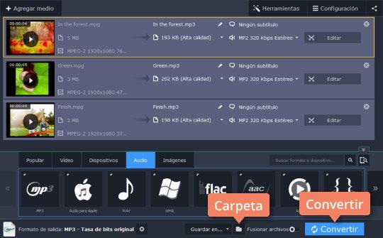 Use el programa de software en español de Movavi para convertir MPEG, MPG a MP3