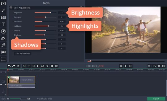 Adjust brighteness manually in the video brightness editor