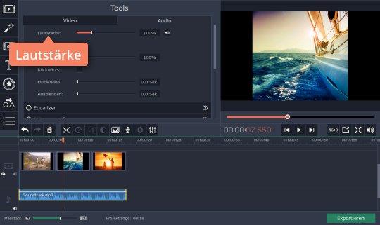 Regulieren Sie den Ton in Movavis App, um Musikvideo zu erstellen