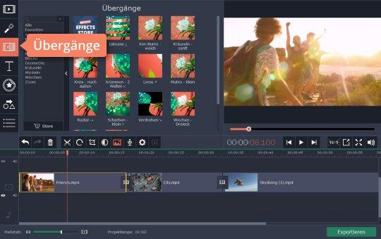 Benützen Sie Übergänge für GoPro-Videobearbeitung