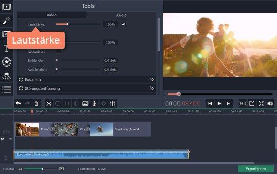 Regulieren Sie die Lautstärke, während Sie GoPro-Videos bearbeiten