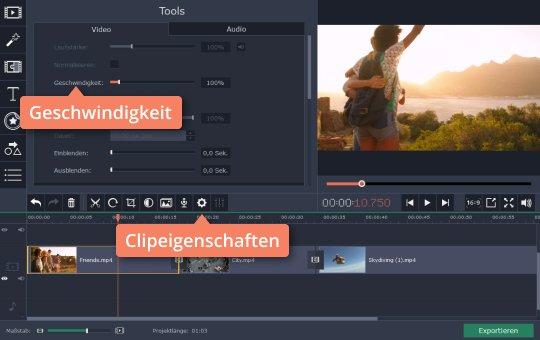 Verwenden Sie Movavi-App als GoPro-Bearbeitungsprogramm für die Verlangsamung