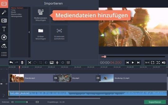 Benützen Sie Movavi für GoPro-Videobearbeitung, um Audio einzufügen