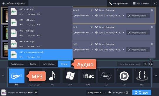 Выберите конечный формат в конвертере MP4 в MP3