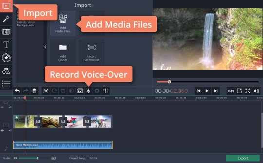 Add an audio track to the video