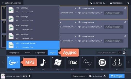 Выберите подходящий формат, чтобы конвертировать OGG в MP3