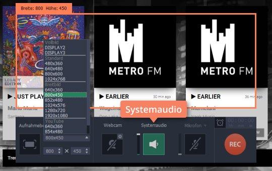 Klicken Sie Systemaudio, wenn Sie Radio-Stream aufnehmen wollen