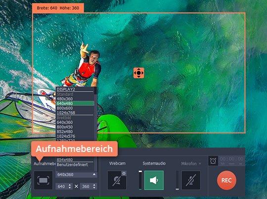 Klicken Sie auf den Aufnahmebereich um Videos von Webseiten zu downloaden