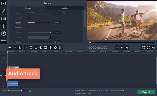 Add a new audio track to your fast-forward video