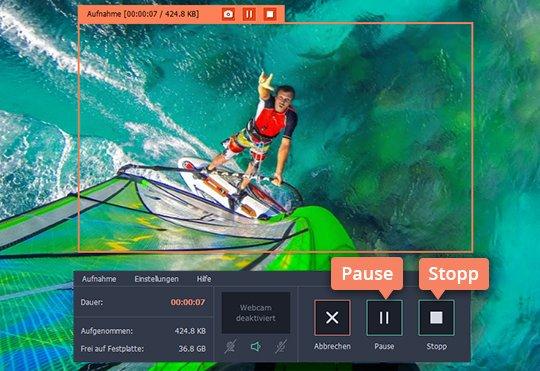 Starten Sie REC  um mit  Movavi Screen Recorder Movavi Videos zu downloaden