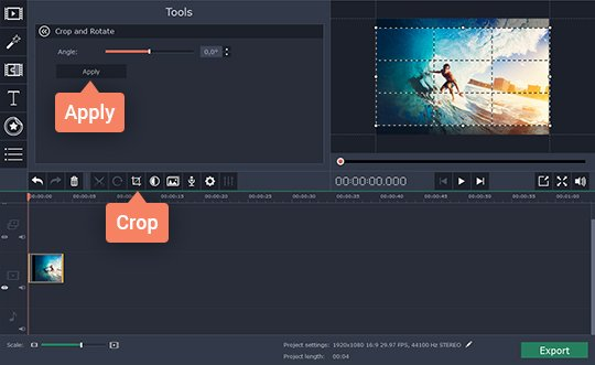 Define the desired frame area and crop the video