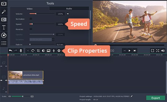Use Movavi's video speed changer to increase the video speed