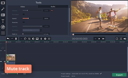 Mute the original audio track of your sped-up video