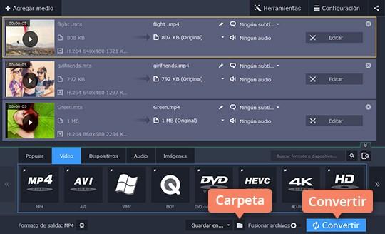 Convierta MTS a otros formatos sin perder calidad con Movavi Video Converter
