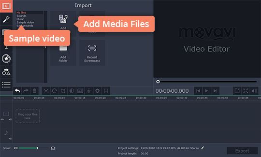 Add your videos to Movavi Video Editor